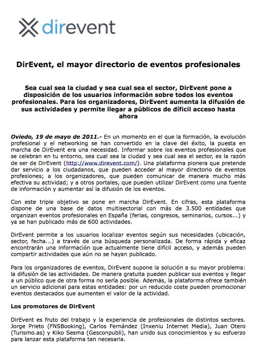 nota de prensa DirEvent